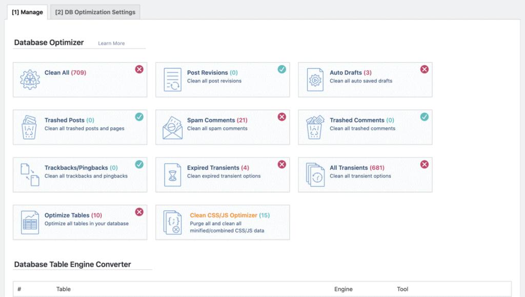 Litespeed Cache Database Manage