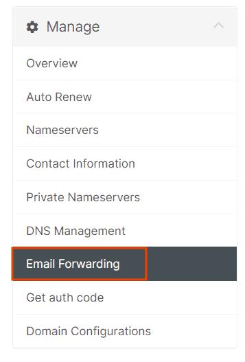 Manage Email Forwarding