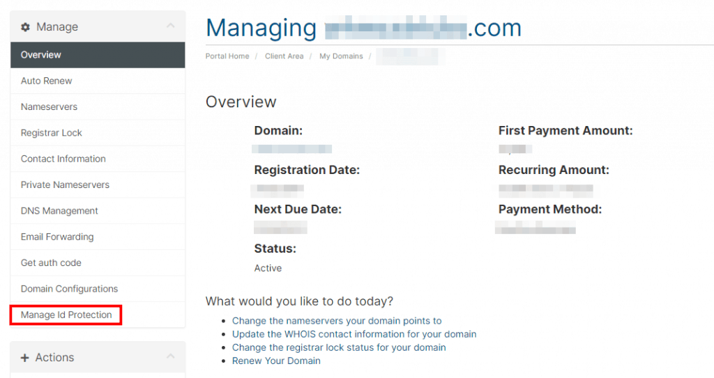 Manage Id Protection Whois Protection