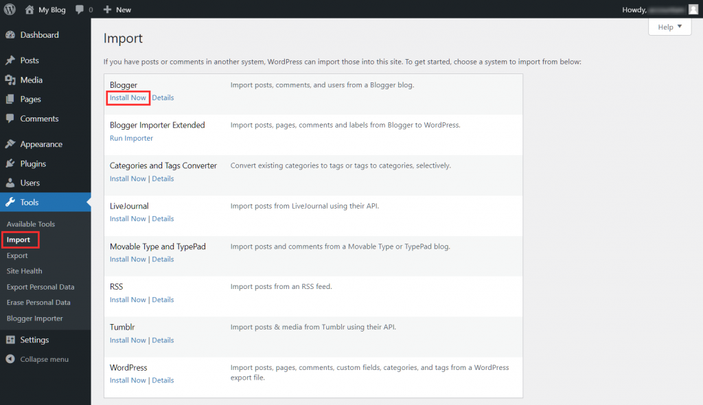 Migrate Blogger To WordPress Install Import Tool