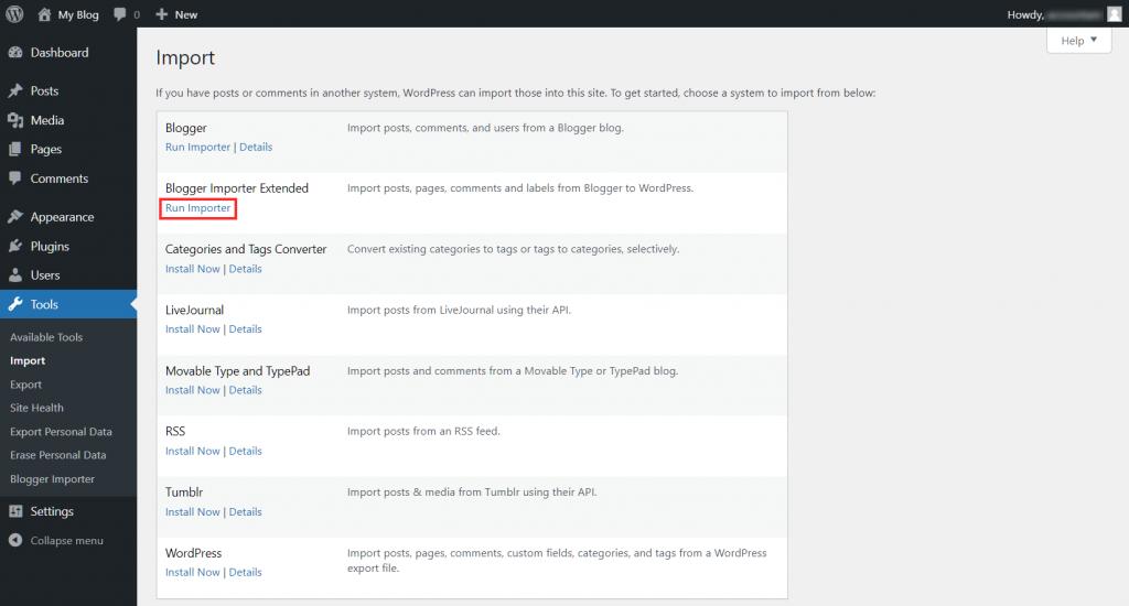 Migrate Blogger To WordPress Run Importer
