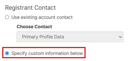 Specify Custom Information Below