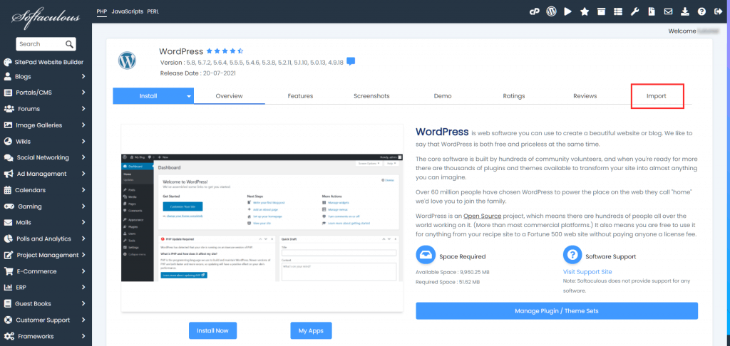 Staging Site Import WordPress Installation
