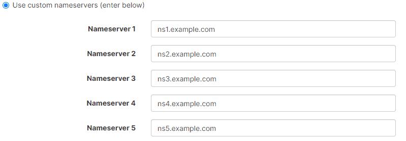 Use Custom Nameservers
