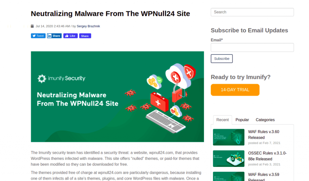 Wordpress Hacked Blog Imunify Malware