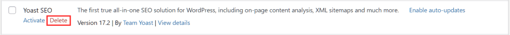 Wordpress Plugins Delete Plugin