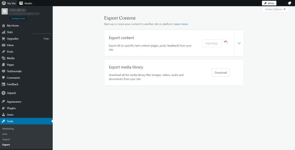 Transfer WordPress Com To WordPress Org Exporting Website
