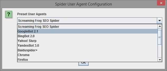configurazione user agent screming frog