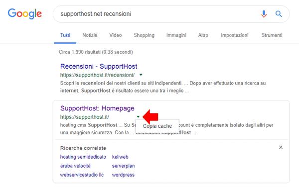 copia cache Google