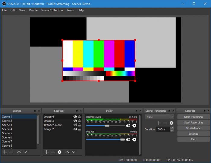 Registrare video streaming con Obsdemoapp