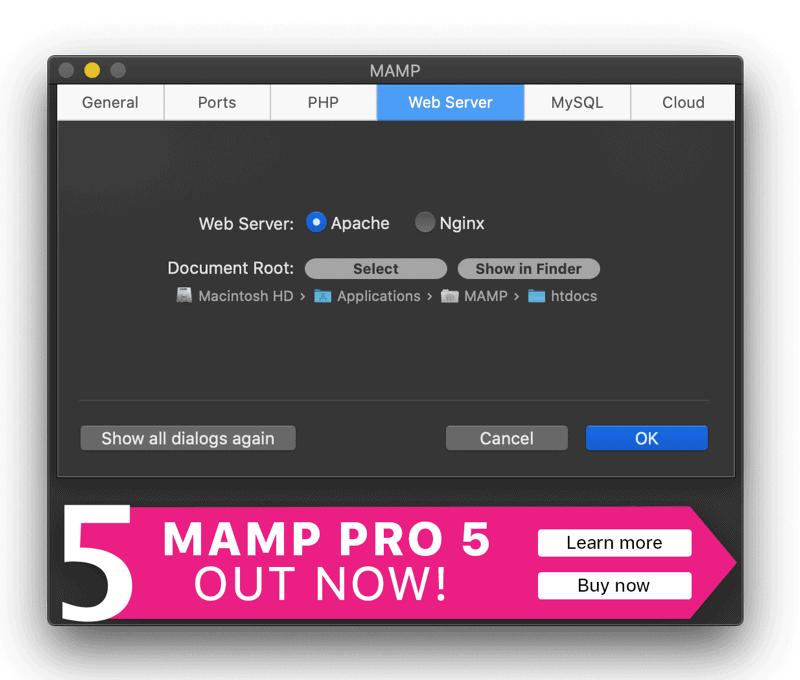 Preferenze Mamp Web Server
