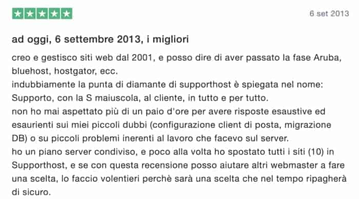 Recensione Supporthost 4