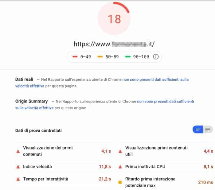 Test Pagespeed Alternativa Aruba Supporthost