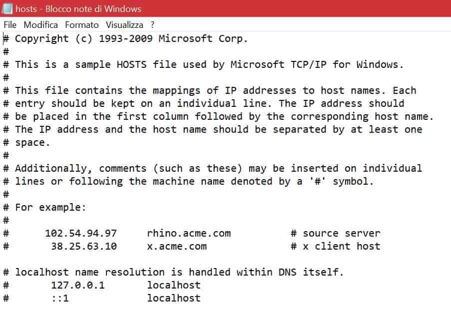 Esempio File Hosts Locale