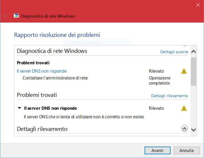 Server Dns Non Risponde Diagnostica Rete Windows