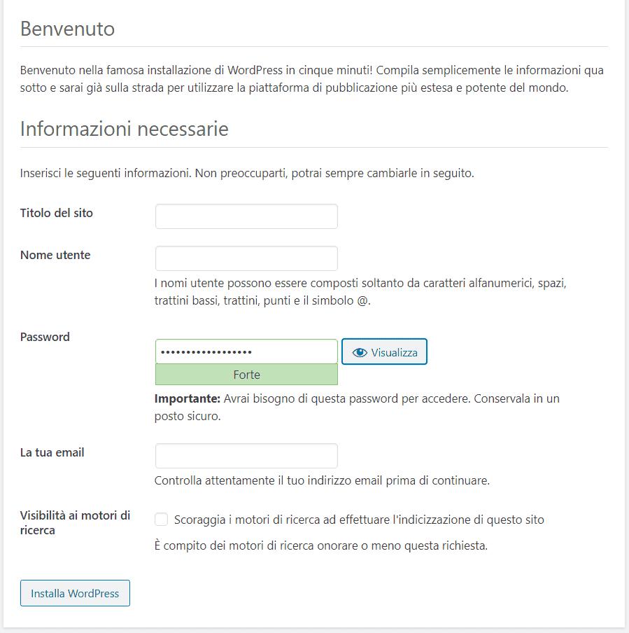 Configurazione WordPress Installazione Manuale