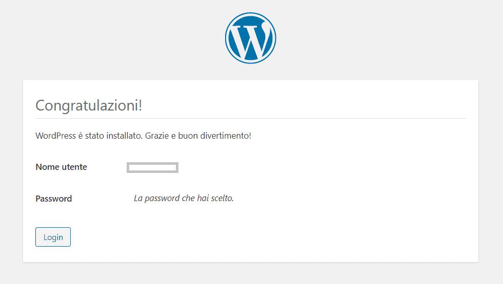 Installazione Manuale WordPress Completata