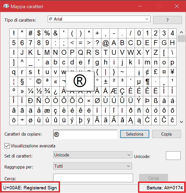 Mappa Caratteri Codice Unicode