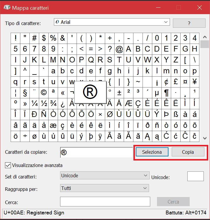 Mappa Caratteri Windows Selezione Caratteri